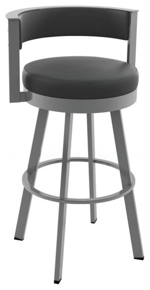 Browser Swivel Metal Stool, Glossy Gray Metal/Black Faux Leather, Bar Height