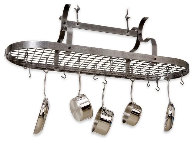 Premier Scrolled Armed Pot Rack, Hammered Steel.
