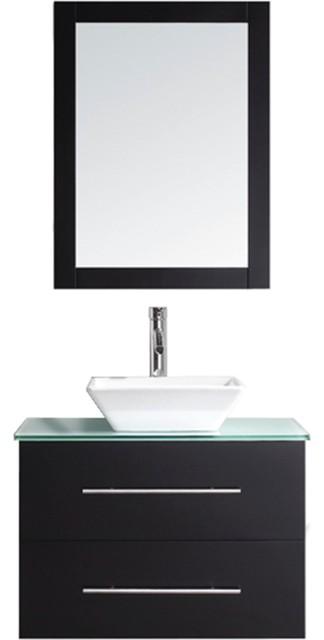 Single Bathroom Vanity Cabinet Set In Espresso Contemporary Bathroom