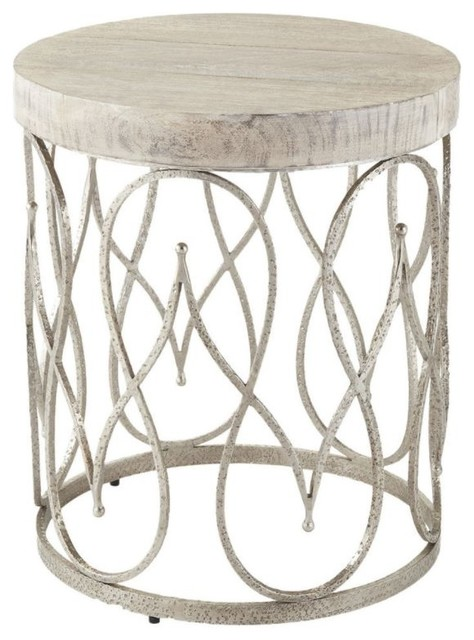 Textured Silver Scroll Fretwork Accent Table Moroccan Swirl Metal Wood Cage Drum