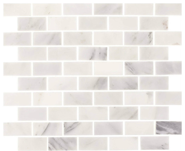 Tile Circle Aspen White Marble 1X2 Minibrick Subway Backsplash