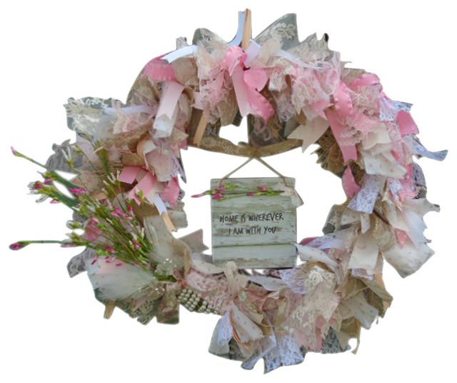 Shabby Chic Wreath, Pink White Peach Lace Burlap Fabric.