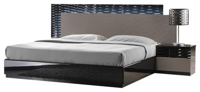 Roma Modern Bedroom Set, Black & Gray Lacquer, King, 5-Piece Set