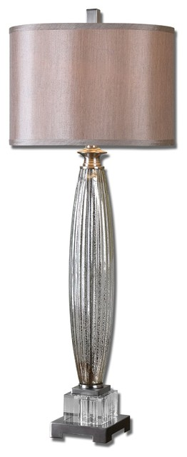 Uttermost Loredo 1-Light Brushed Nickel Plated Table Lamp.