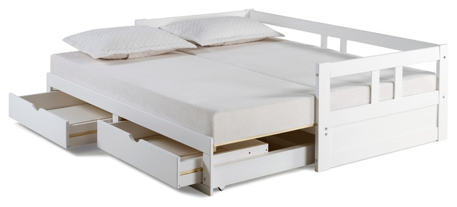Melody Twin To King Extendable Trundle Daybed With Storage Drawers