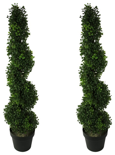 Admired By Nature 3/' Artificial Boxwood Leave Spiral Topiary Plant Tree in