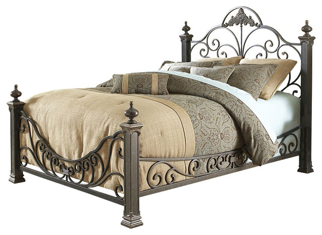 Queen Size Baroque Style Metal Bed With Headboard And Footboard.