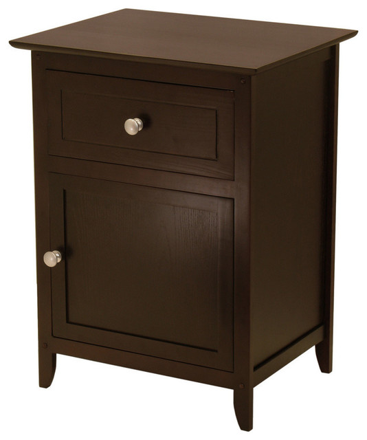 Winsome Wood End Table Nightstand With Drawer And Shelf Natural