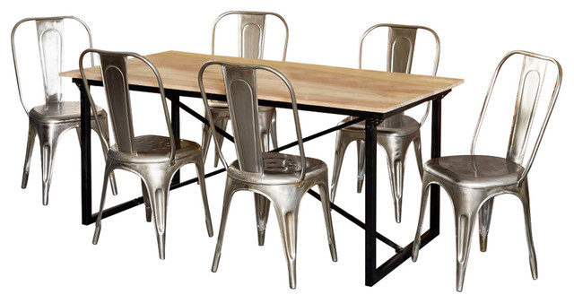 Cosmos Industrial 7-Piece Dining Table Set With Silver Metal Chairs