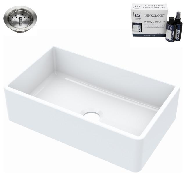 "Turner Farmhouse Fireclay 30"" Single Bowl Kitchen Sink, Crisp White, with Drain"