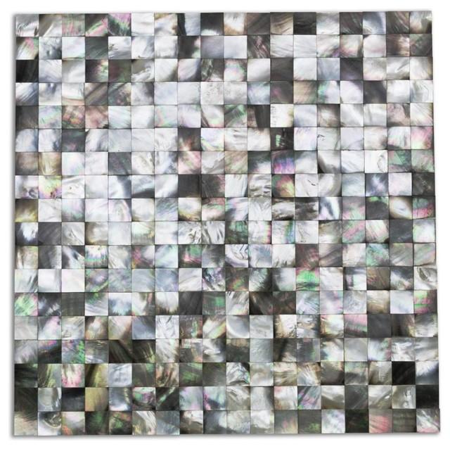 Lokahi Coule Random Sized Glass Pearl Shell Mosaic Tile, Polished Black/Gray