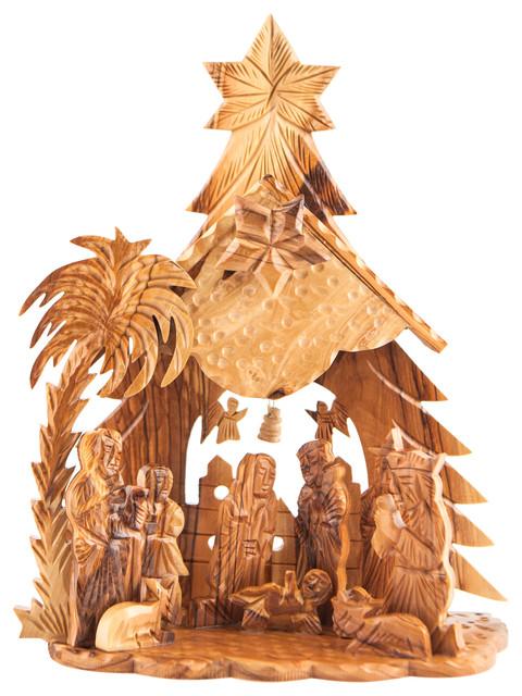 Olive Wood Nativity Set Christmas Tree Large.