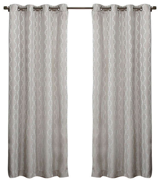 Baroque Look Jacquard Grommet Top Curtains Contemporary Curtains