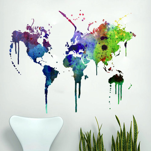 Watercolor World Map Wall Decal by Decal Sticker eclectic-wall-decals