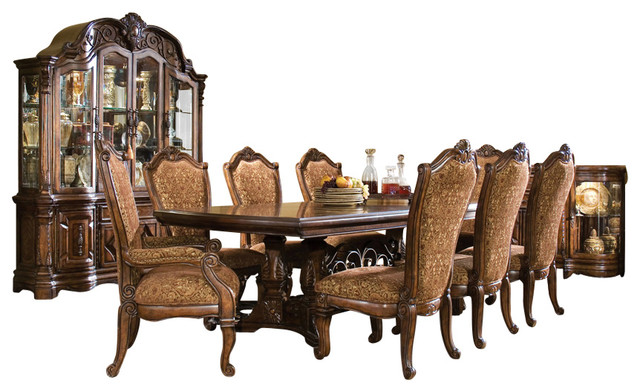 10 Piece Windsor Court Rectangular Dining Table Set With China Cabinet  Victorian Dining