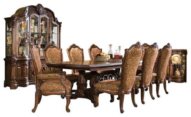 9 Piece Windsor Court Rectangular Dining Table Set Vintage Fruitwood  Victorian Dining Sets