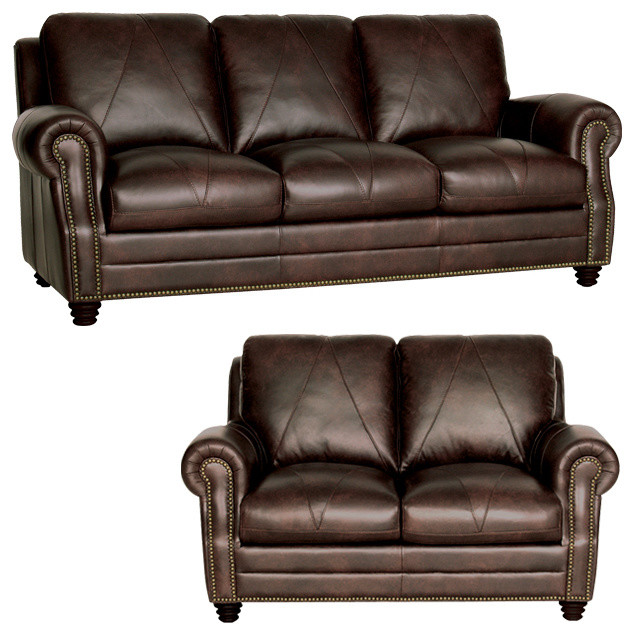 Traditional Sofas Living Room Furniture: Genuine Italian Leather Sofa And Loveseat In Chocolate
