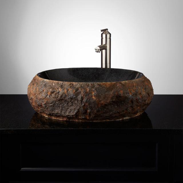 "Signature Hardware 935469 Ridge 21"" Natural Stone Vessel Bathroom Sink"