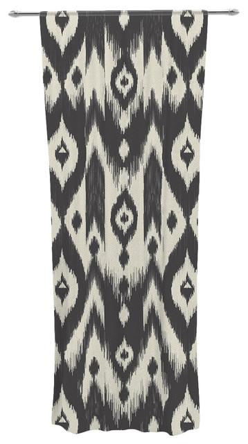 amanda lane sheer curtain black and cream tribal ikat