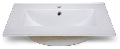 """25""""x22"""" White Vanity Top With Square Bowl, Single Faucet Hole Drilling."""