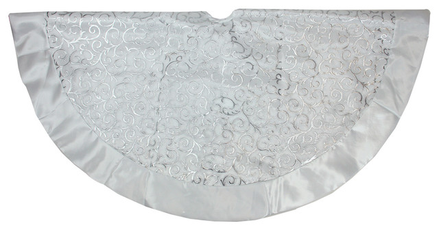 48 silver filigree organza christmas tree skirt with white satin trim and bows contemporary - Silver Christmas Tree Skirt