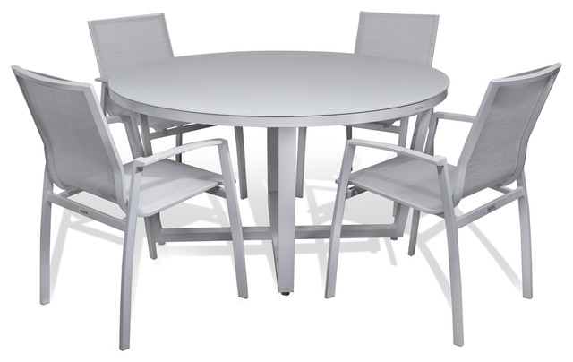 Outdoor Patio Furniture Aluminum Gray Frosted Glass Round Dining 5 Piece Set
