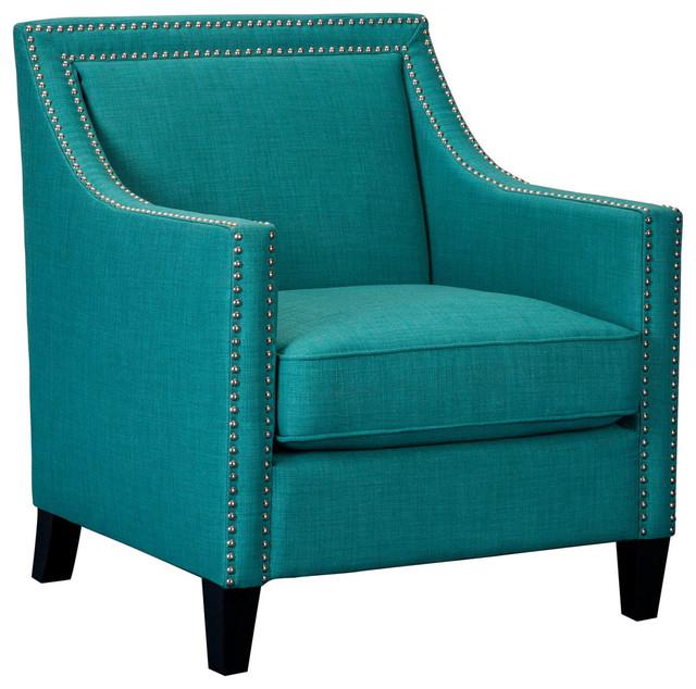 Bridgehampton Accent Chair With Nailhead Trim, Teal.