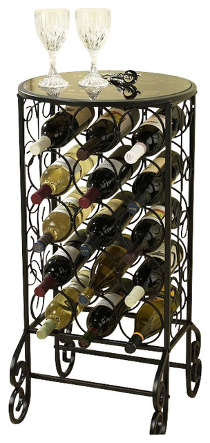 Sei Glass Top Wine Table Transitional Wine Racks By Luxvanity