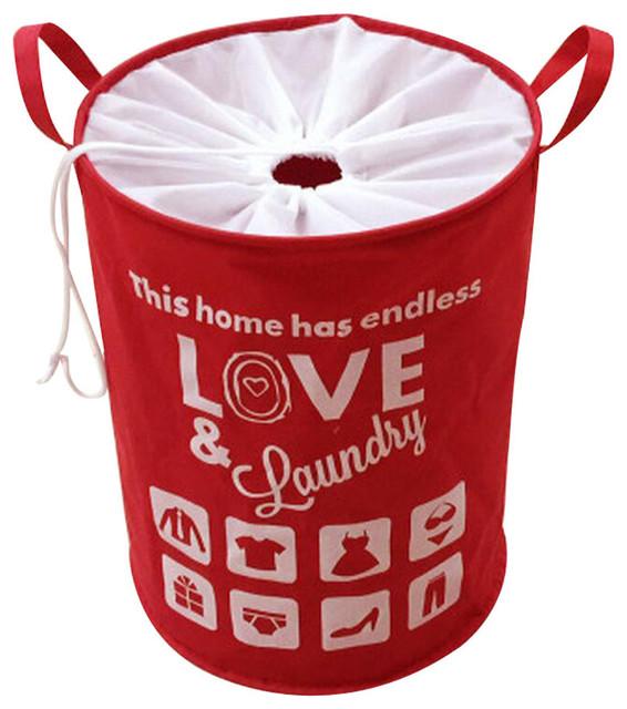 Drawstring Home Laundry Baskets Clothes Hamper Storage Toy Organizer, Red.