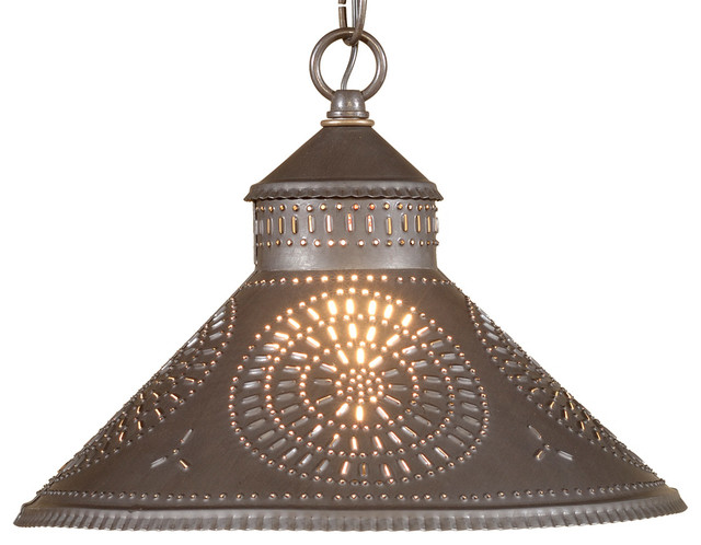 Punched Tin Pendant Light Blackened Mediterranean Lighting