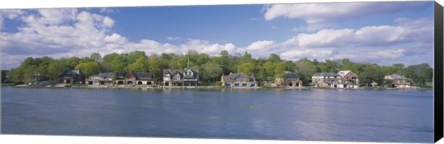 "Boathouses Near The River, Schuylkill River, Wrapped Canvas, Black Sides, 27""x9""."