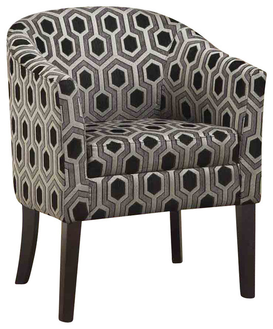 Gery Charlotte Hexagon Patterned Accent Chair with Wood