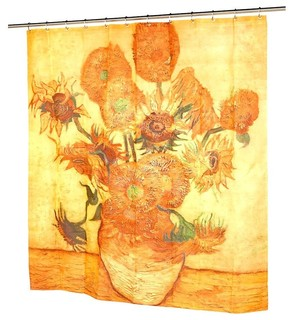 Sunflowers Yellow Fabric Shower Curtain Museum Collection By Vincent Van Gogh