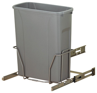 KV Kitchen & Bath Storage Slide-Out Waste & Recycling Bin/Non-Lidded in Frosted Nickel ...