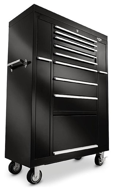 """41"""" 8-Drawer 18G Steel Rolling"""" Ultimate Box"""" Tool Cabinet, Black - Industrial - Garage And Tool ..."""