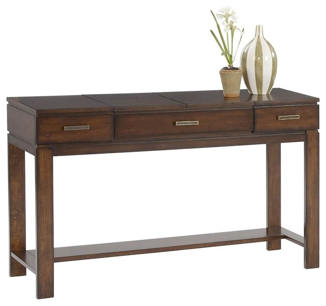 Miramar Contemporary Cherry Birch Wood Sofa Table/Desk Transitional Console  Tables