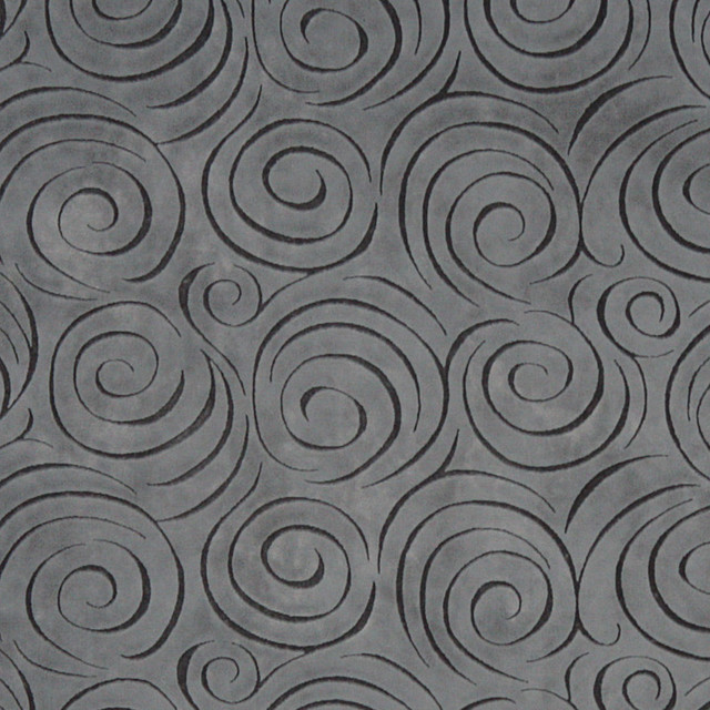 Grey Abstract Swirl Microfiber Stain Resistant Upholstery Fabric By The Yard
