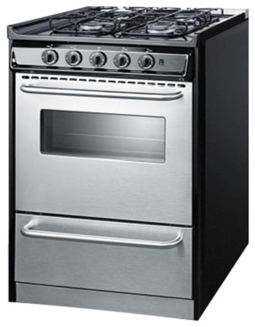24 Wide Slide-In Gas Range With Stainless Doors And Sealed Burners.