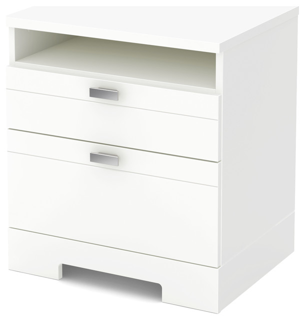 South S Reevo Night Stand With Drawers And Cord Catcher Pure White