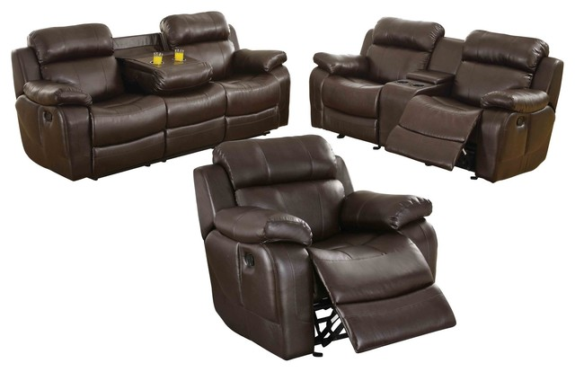 Phenomenal 3 Piece Manque Double Reclining Sofa Love Seat Glider Chair Brown Leather Alphanode Cool Chair Designs And Ideas Alphanodeonline