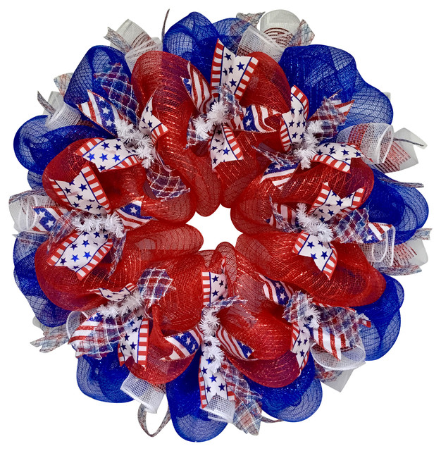 Three Cheers For The Red White And Blue Patriotic Ribbon Deco Mesh Wreath.