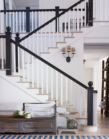 Stairs In White California  Beach House traditional entry