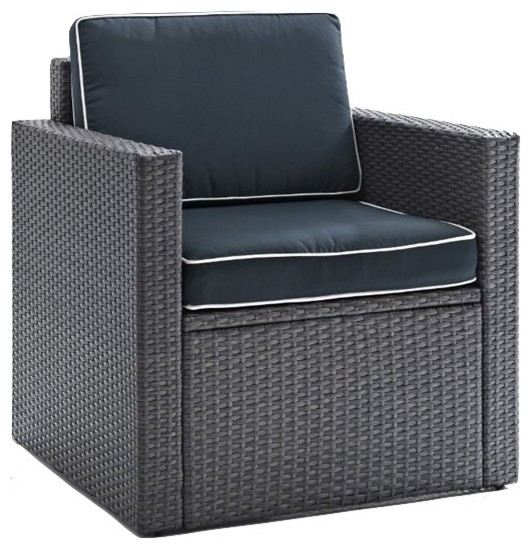 Palm Harbor Outdoor Arm Chair, Gray Wicker With Navy Cushions.