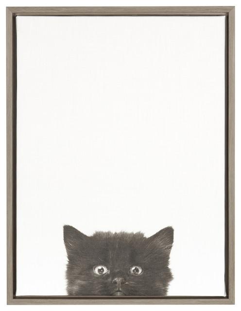 Sylvie Black Kitten 18x24 Gray Framed Canvas Wall Art By