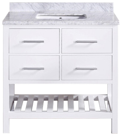 """30"""" Belvedere Traditional Freestanding White Bathroom Vanity With Marble Top."""