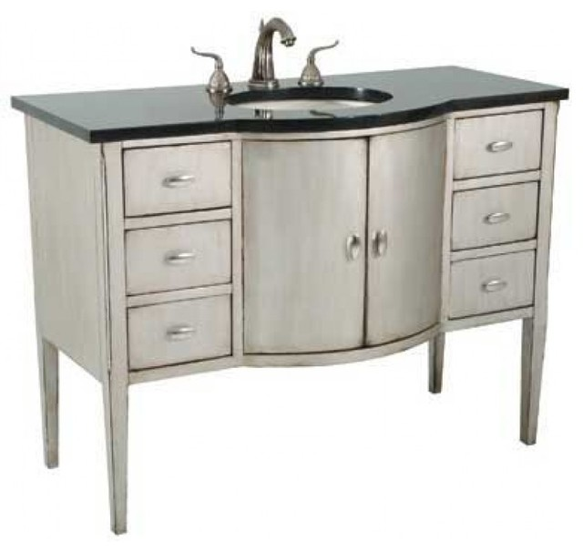 Ambella Home Collection Sterling Bowfront Large Sink Chest Transitional Bathroom Vanities And
