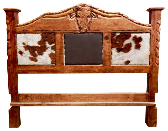 Rustic Cowhide Bed Farmhouse Headboards by FoxDen Decor