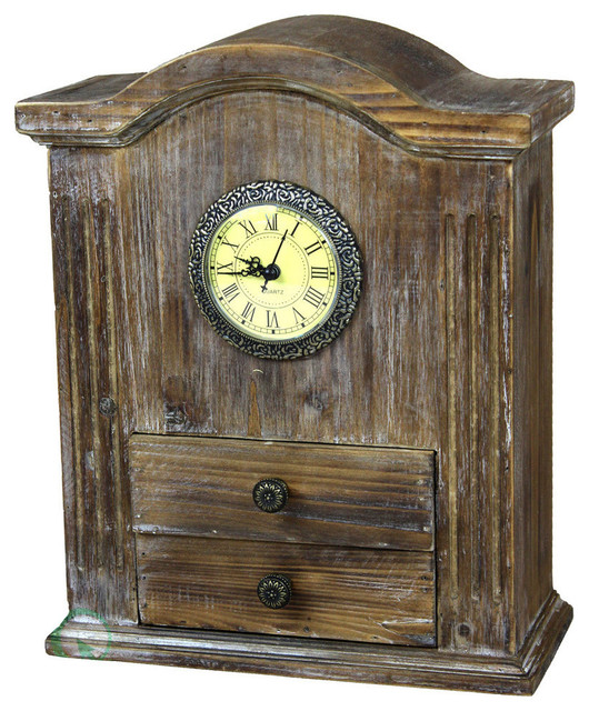 Vintage Wooden Handcrafted Desk Clock Farmhouse Desk And Mantel