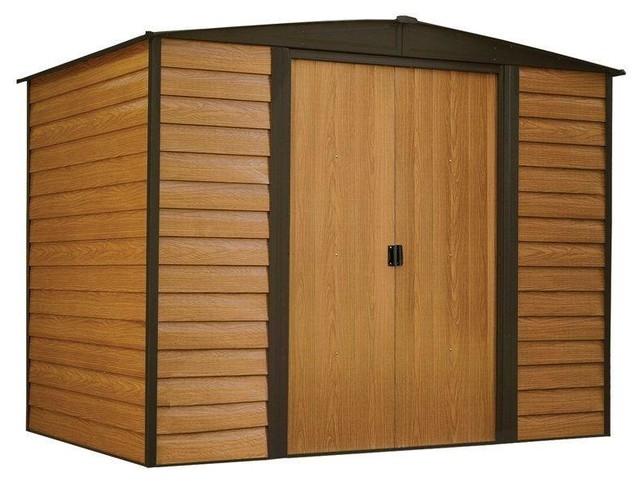Outdoor 6&x27;x5&x27; Steel Storage Shed With Woodgrain Pattern Siding.