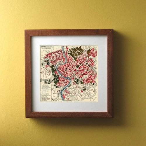 Vintage Map, ROME Atlas Map Italian Print by Ex Libris Journals traditional artwork